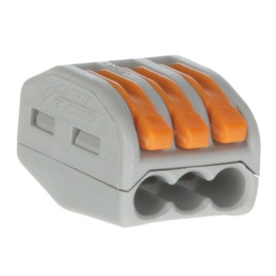 Wago 3 Way Lever Cable Connector 222 Series Grey/Orange Pack of 20