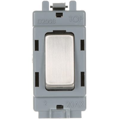 BG Nexus Grid 20A 20AX Intermediate Light Switch Brushed Steel GBS13-01