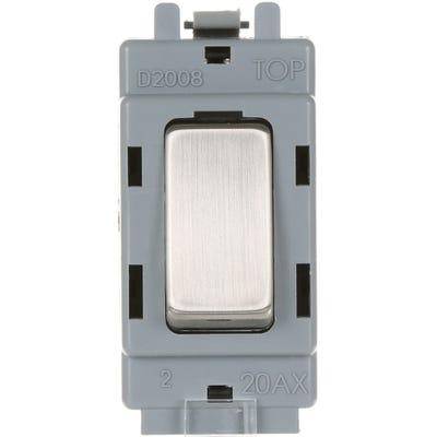 BG Nexus Grid 20A 20AX Intermediate Light Switch Brushed Steel GBS13-01