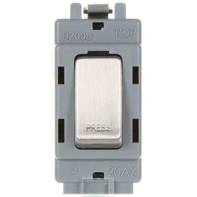 BG Nexus Grid 20A 20AX 1 Way Retractive Single Pole Module printed 'Press' Brushed Steel GBS14-01