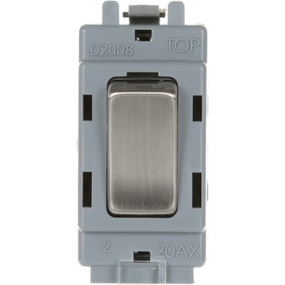 BG Nexus Grid 20A 20AX Double Pole Switch Brushed Steel GBS30-01