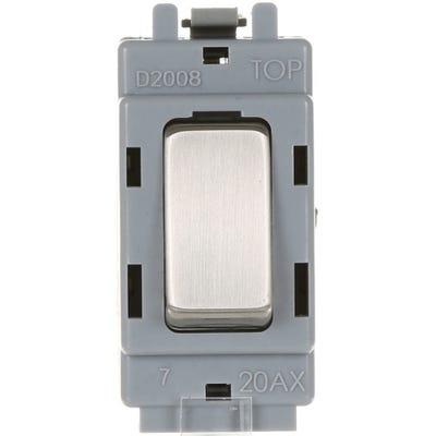 BG Nexus Grid 20A 20AX 2 Way Single Pole Module Brushed Steel GBS12-01