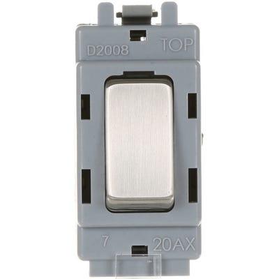 BG Nexus Grid 20A 20AX 2 Way Single Pole Module Brushed Steel GBS12-01