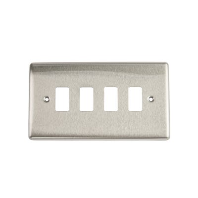 BG Nexus Grid 4 Gang Modular Front Plate Brushed Steel RNBS4-01