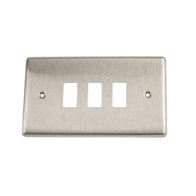 BG Nexus Grid 3 Gang Modular Front Plate Brushed Steel GNBS3-01