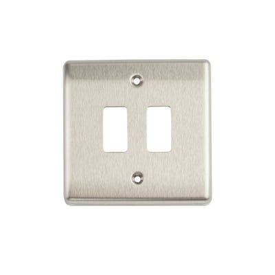 BG Nexus Grid 2 Gang Modular Front Plate Brushed Steel GNBS2-01