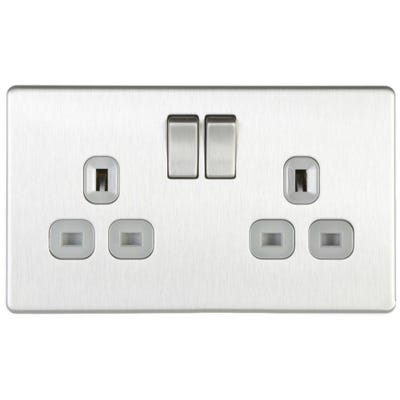 BG Nexus Screwless Flatplate 13A 2 Gang Double Pole Switched Socket Brushed Steel FBS22G-01