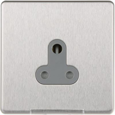 BG Nexus Screwless Flatplate 5A 1 Gang Unswitched Round Pin Socket Brushed Steel FBS29G-01