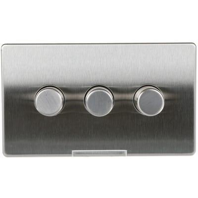 BG Nexus Screwless Flatplate 3 Gang 2 Way 400W LED Dimmer Switch Brushed Steel FBS83P-01