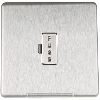 BG Nexus Screwless Flatplate 13A Unswitched Fused Connection Unit Brushed Steel FBS54-01