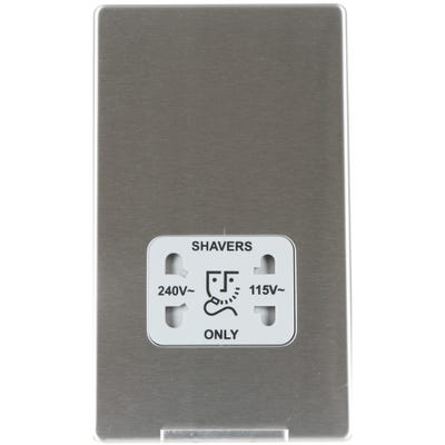 BG Nexus Screwless Flatplate 115V-230V Dual Voltage Shaver Socket Brushed Steel FBS20G-01