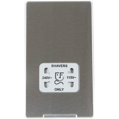BG Nexus Screwless Flatplate 115V-230V Dual Voltage Shaver Socket Brushed Steel FBS20G-01
