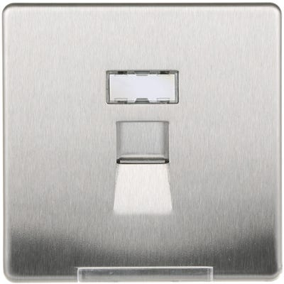 BG Nexus Screwless Flatplate 1 Gang RJ45 Data Outlet Socket Brushed Steel FBSRJ451-01