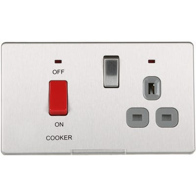 BG Nexus Screwless Flatplate 45A Double Pole Cooker Switched Socket with Neon Brushed Steel FBS70G-01