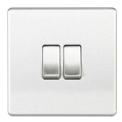 BG Nexus Screwless Flatplate 10A 10AX 2 Gang 2 Way Light Switch Brushed Steel FBS42-01