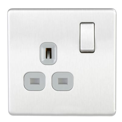 BG Nexus Screwless 13A 1 Gang Double Pole Socket Outlet Brushed Steel FBS21G-01