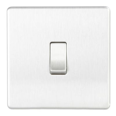 BG Nexus Screwless Flatplate 10A 1 Gang 2 Way Light Switch Brushed Steel FBS12-01