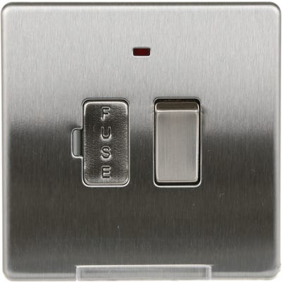 BG Nexus Screwless Flatplate 13A Switched Fused Spur Connection Unit with Neon Brushed Steel FBS52-01