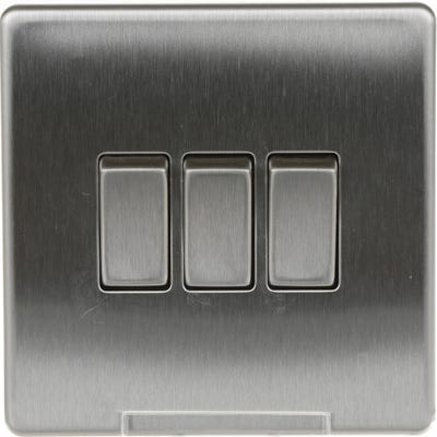 BG Nexus Screwless Flatplate 10A 10AX 3 Gang 2 Way Light Switch Brushed Steel FBS43-01