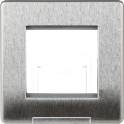 BG Nexus Screwless Flatplate 2 Module Euro Single Front Plate Brushed Steel FBSEMS2-01