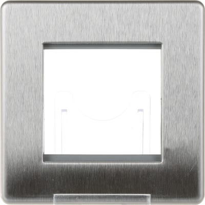 BG Nexus Screwless Flatplate 2 Module Euro Single Front Plate Brushed Steel FBSEMS2-01