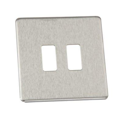 BG Nexus Screwless Flatplate 2 Gang Grid Modular Front Plate Brushed Steel GFBS2-01