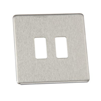 BG Nexus Screwless Flatplate 2 Gang Grid Modular Front Plate Brushed Steel GFBS2-01