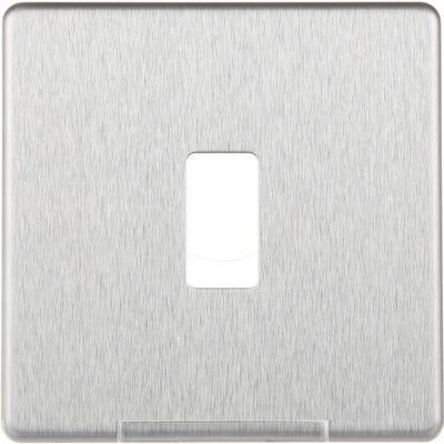 BG Nexus Screwless Flatplate 1 Gang Grid Modular Front Plate Brushed Steel GFBS1-01