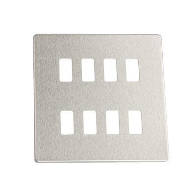 BG Nexus 8 Gang Modular Front Plate Brushed Steel Screwless Flatplate GFBS8