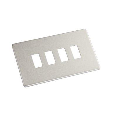 BG Nexus Screwless Flatplate 4 Gang Grid Modular Front Plate Brushed Steel GFBS4-01