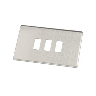 BG Nexus Screwless Flatplate 3 Gang Grid Modular Front Plate Brushed Steel GFBS3-01