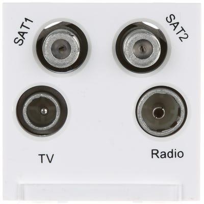 BG Nexus Euro Module TV, Radio, Dual Satellite Quadplex White EMTVFMSAT2W