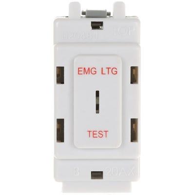 BG Nexus Grid 20A 2 Way Single Pole Secret Key Switch printed 'EMG LTG TEST' G12EL