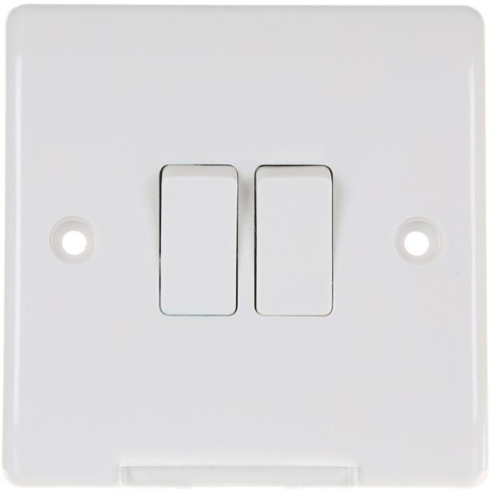 BG Nexus 10A 2 Gang 2 Way Light Switch 842-01