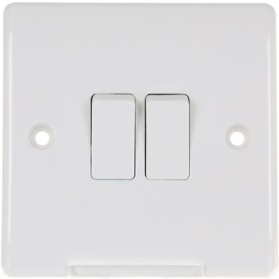BG Nexus 10A 2 Gang 2 Way Light Switch 842-01
