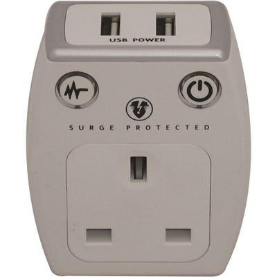 Masterplug USB Surge Protected Plug (2 x2.1A) Polished White