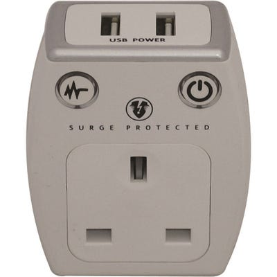 Masterplug USB Surge Protected Plug (2 x2.1A) Polished White