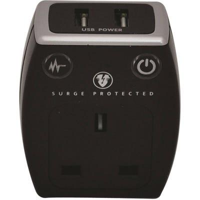 Masterplug USB Surge Protected Plug (2 x2.1A) Polished Black