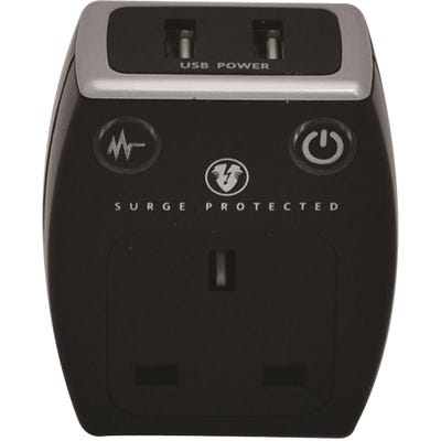Masterplug USB Surge Protected Plug (2 x2.1A) Polished Black