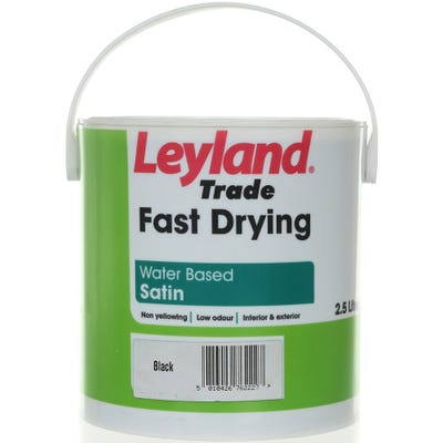 Leyland Trade Fast Drying Water Based Satin Black 2.5L