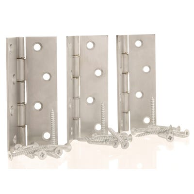 Double Steel Washered Butt Hinges 102mm Satin Chrome