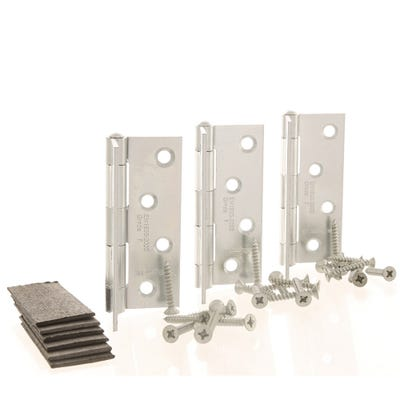 Grade 7 Fire Hinges With Intumescent Plates 102mm Bright Zinc Pack of 3