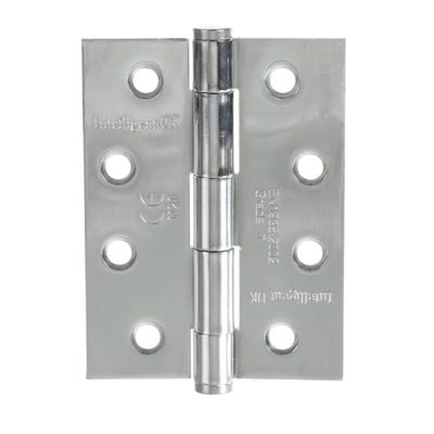 Grade 7 Fire Hinges With Intumescent Plates 102mm Polished Chrome Pack of 3
