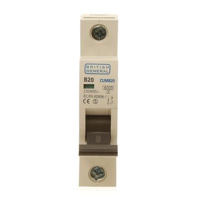 BG Nexus 20A MCB Single Pole (Type B) CUMB20