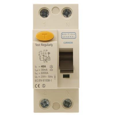 BG Nexus Double Pole RCD 40A 30mA Type AC CUR4030