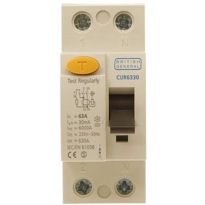 BG Nexus Double Pole RCD 63A 30mA Type AC CUR6330