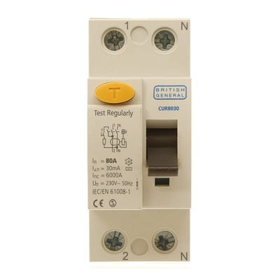 BG Nexus Double Pole RCD 80A 30mA Type AC CUR8030