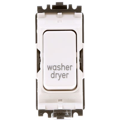 MK 20A Double Pole 1 Way Grid Plus Switch Module printed 'Washer Dryer' K4896WDRWHI