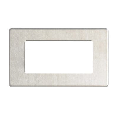 BG Nexus Screwless Flatplate 4 Module Euro Plate Rectangular Brushed Steel FBSEMR4-01
