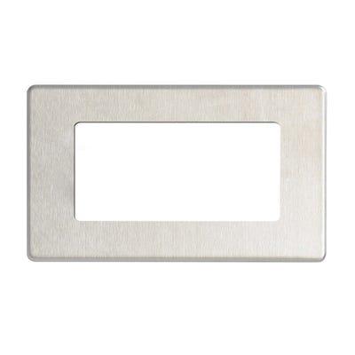 BG Nexus Screwless Flatplate 4 Module Euro Plate Rectangular Brushed Steel FBSEMR4-01